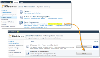 SharePoint 2010 Central Admin - Activate Farm Feature