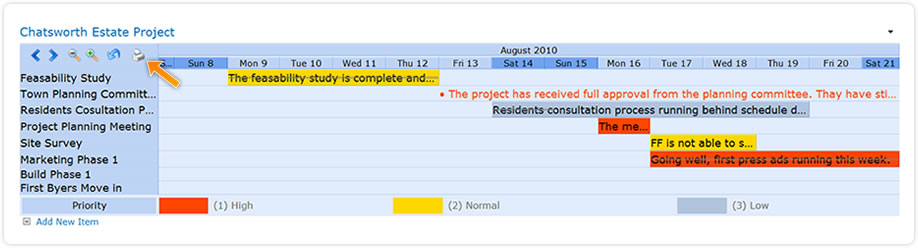 sharepoint planner webpart project gantt printing