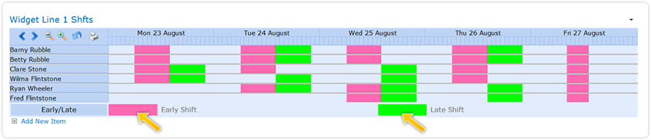 SharePoint panner webpart shift planning, color code shifts