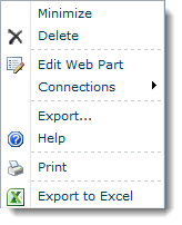 Web Part Menu - Print and Excel Export