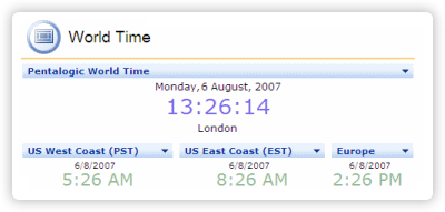 Screenshot of free WorldTime web part for SharePoint